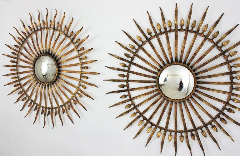 Pair of Sunburst Starburst Gilt Iron Convex Mirrors in Large Scale For Sale 11