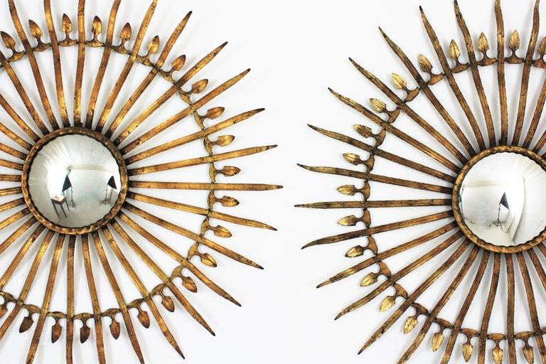 Spanish Pair of Sunburst Starburst Gilt Iron Convex Mirrors in Large Scale For Sale