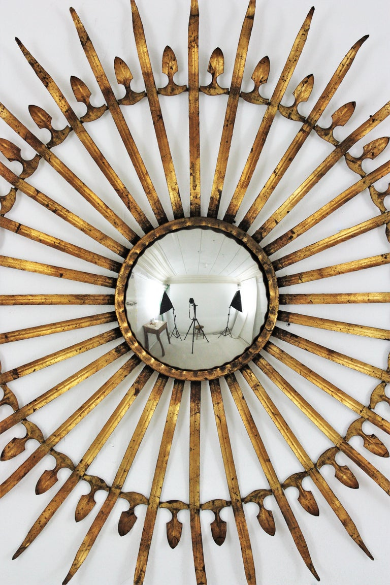Pair of Sunburst Starburst Gilt Iron Convex Mirrors in Large Scale For Sale 2