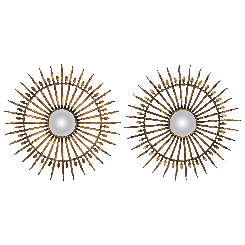 Pair of Sunburst Starburst Gilt Iron Convex Mirrors in Large Scale