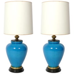 Pair of Large Scale Turquoise Blue Ceramic Lamps