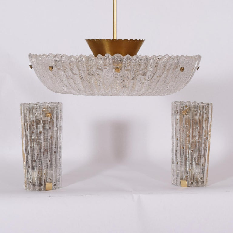Brass Pair of Large Sconces by Carl Fagerlund for Orrefors For Sale