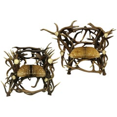 Pair of Large Scottish Antler Trophy Chairs