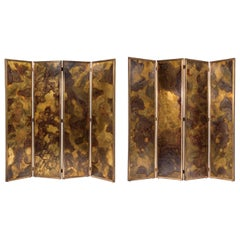 Pair of Large Screens with Four Leaves in Brass, Oxidized Brass and Mirror