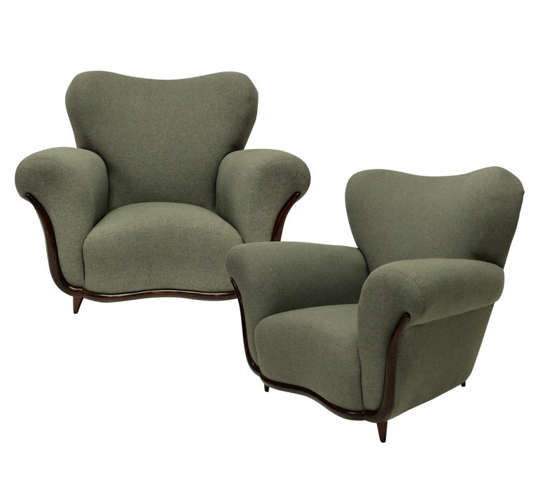 Mid-Century Modern Pair of Large Sculptural Armchairs by Ulrich
