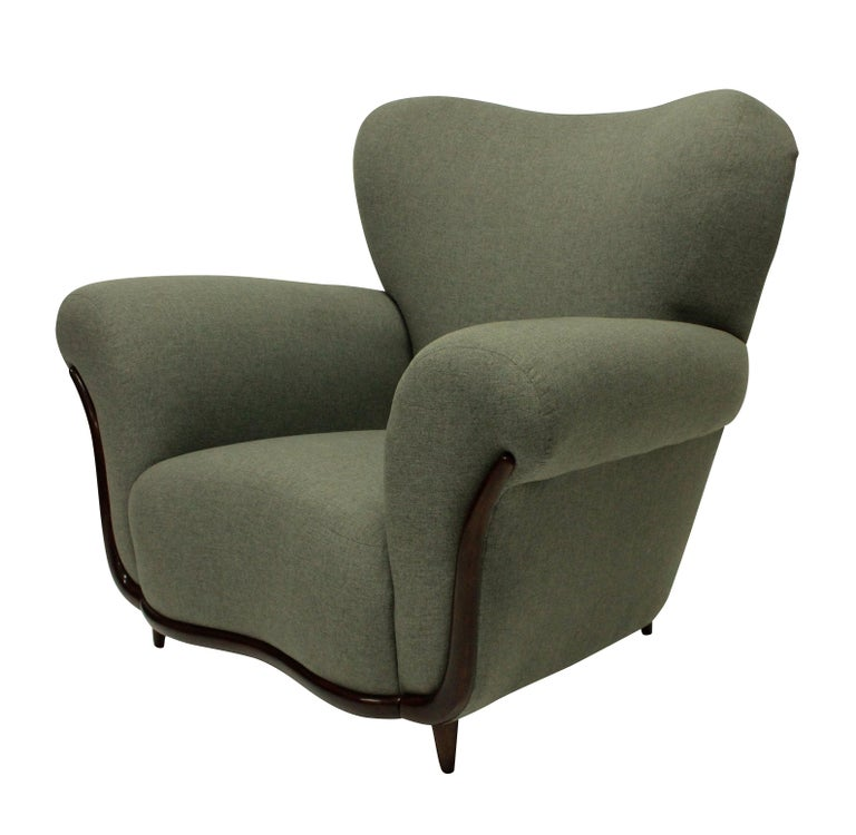 Italian Pair of Large Sculptural Armchairs by Ulrich