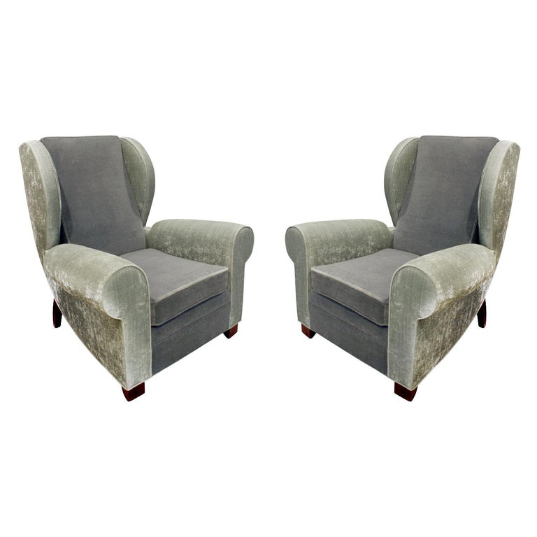 Pair of Large Sculptural French Wing Chairs, 1930s For Sale