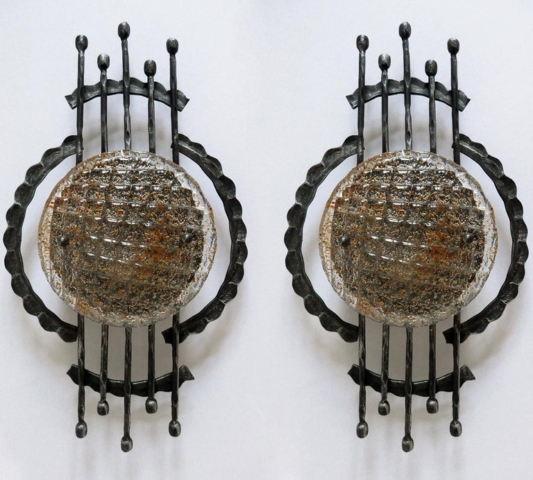 20th Century Vintage Pair of Large Sculptural Iron and Glass Wall Flush Mounts Sconces, 1960s For Sale
