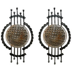 Vintage Pair of Large Sculptural Iron and Glass Wall Flush Mounts Sconces, 1960s
