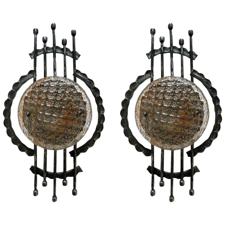 Vintage Pair of Large Sculptural Iron and Glass Wall Flush Mounts Sconces, 1960s For Sale