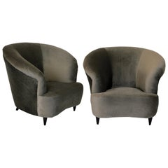 Pair of Large Sculptural Lounge Chairs by Parisi