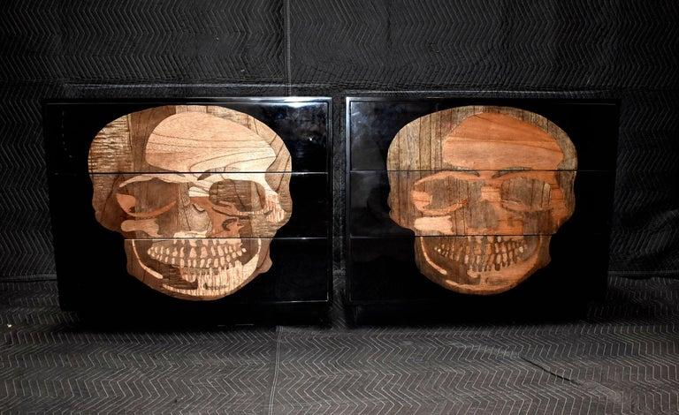 Pair of exotic wood inlay