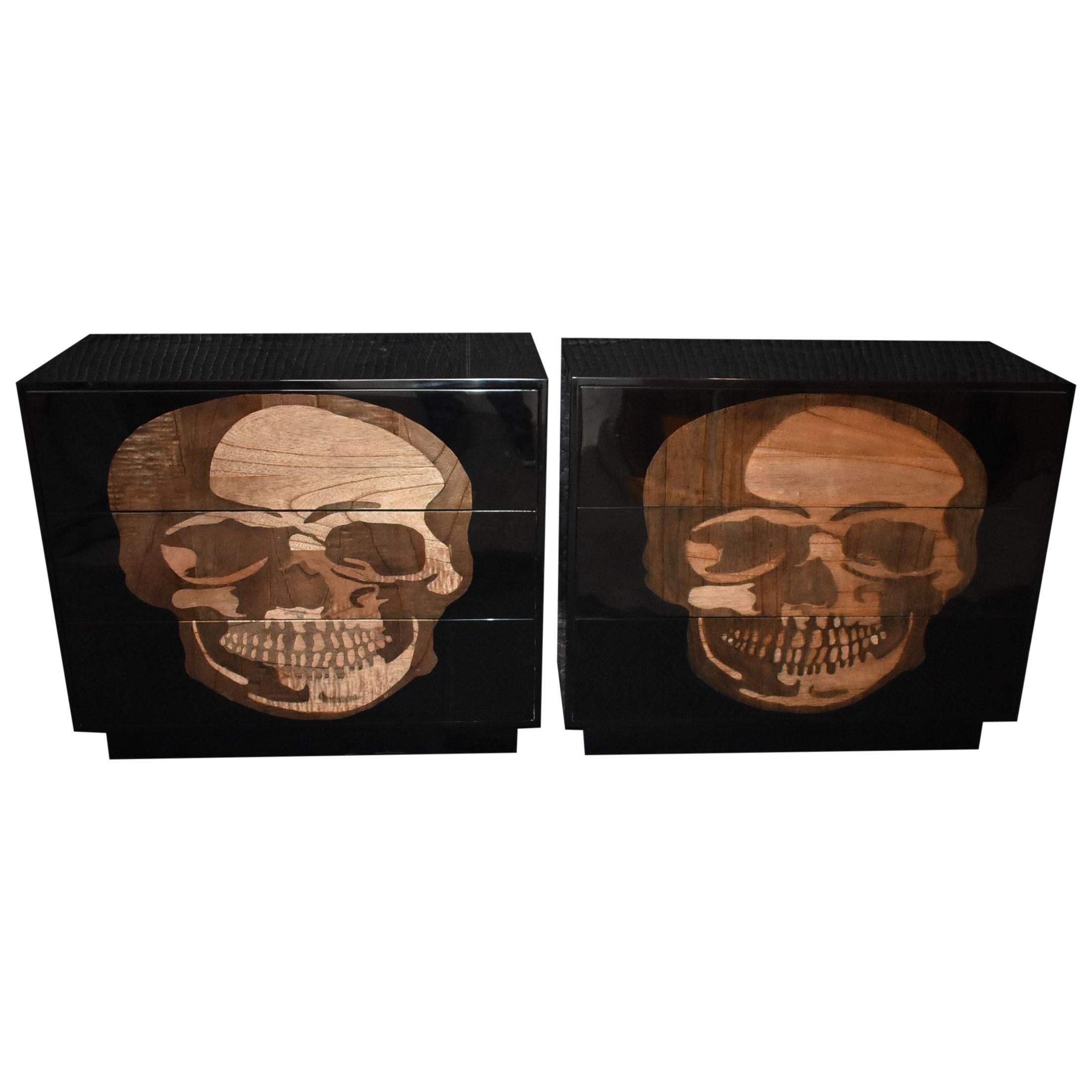 "Pair of Large Sculptural ""Skull"" Design Commodes"