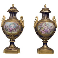 Pair of Large Sèvres Style Porcelain Vases and Covers, circa 1890