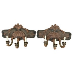 Pair of Large Shell Carved Polychromed Three-Light Sconces