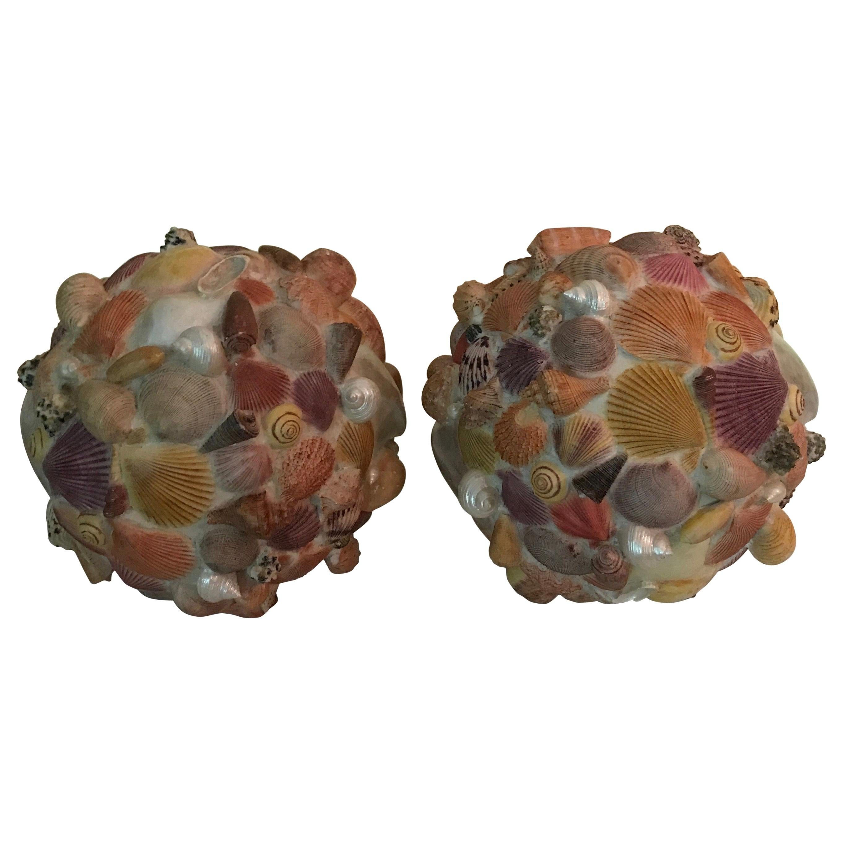 Pair of Large Shell Topiary Balls