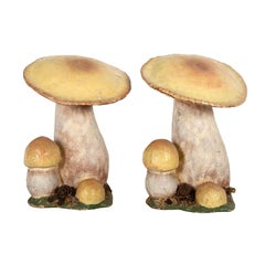 Pair of Large Shop Display Papier Mache Mushrooms