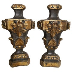 Pair of Large Sicilian 17th Century Painted & Parcel-Gilt Church Altar Ornaments
