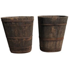 Pair of Large Signed Alsatian Wooden Master Grape Collection Tub Planters #1