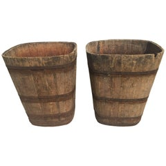 Pair of Large Signed Alsatian Wooden Master Grape Collection Tub Planters #4