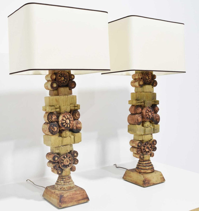 Lamps have an exquisite sculptural design, made of ceramic/ terracotta.  Lamps are 29