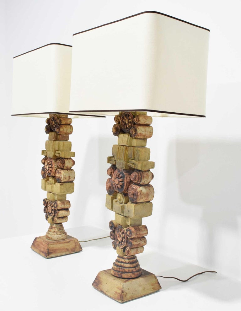 Mid-Century Modern Pair of Large Signed Bernard Rooke Table Lamps, England, 1970s For Sale