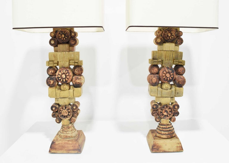 British Pair of Large Signed Bernard Rooke Table Lamps, England, 1970s For Sale