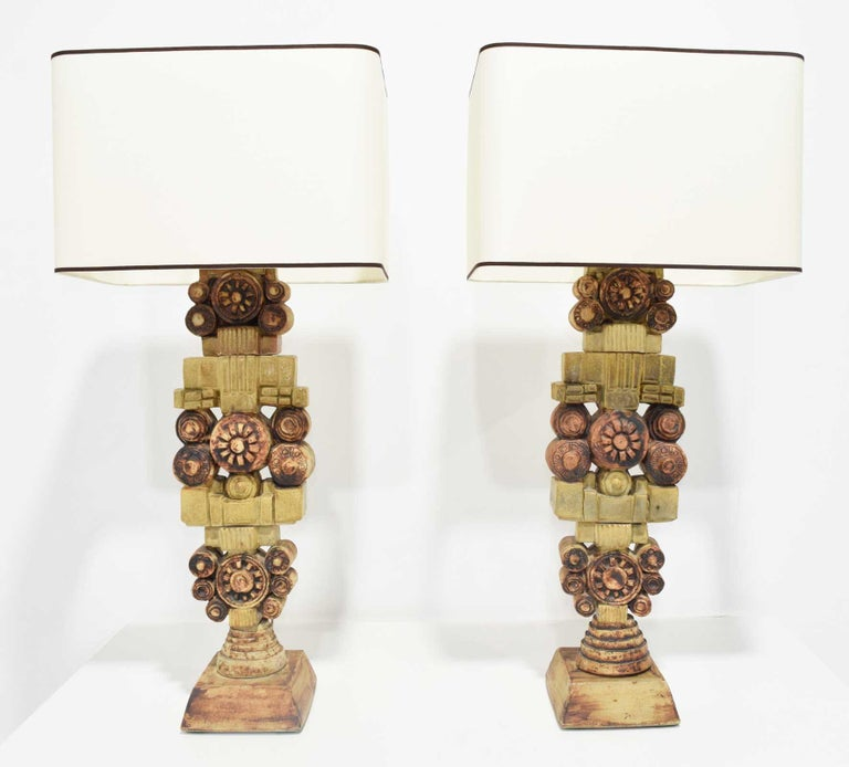 Pair of Large Signed Bernard Rooke Table Lamps, England, 1970s In Excellent Condition For Sale In Dallas, TX