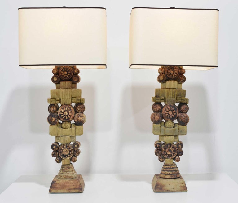 Pair of Large Signed Bernard Rooke Table Lamps, England, 1970s For Sale 2