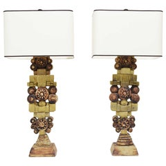 Pair of Large Signed Bernard Rooke Table Lamps, England, 1970s