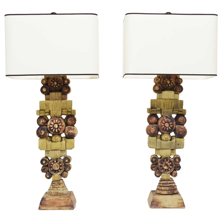Pair of Large Signed Bernard Rooke Table Lamps, England, 1970s For Sale