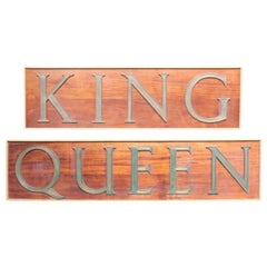 Pair of Large Signs for 'King' and 'Queen'