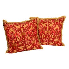 Pair of Large Silk Pillows with Metallic Threads and Red Beads