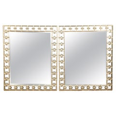 Pair of Large Silver Leafed Geometric Rectangular Mirrors