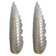 Pair of Large Silver Murano Glass Leaf Sconces, Mid Century, Barovier Style 1970