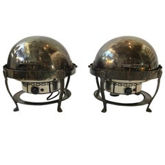 Pair of Large Silver Plate Chafing Dishes