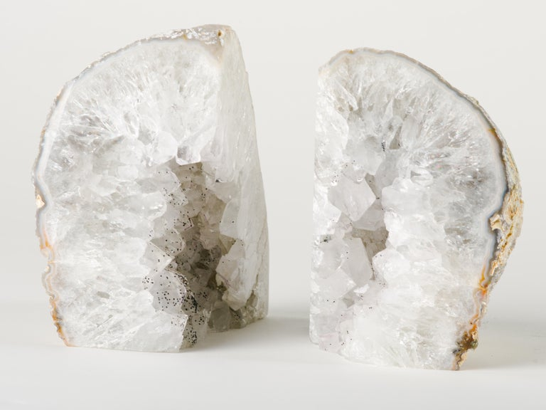 Organic Modern Pair of Large Silver Quartz Crystal Geode Bookends For Sale