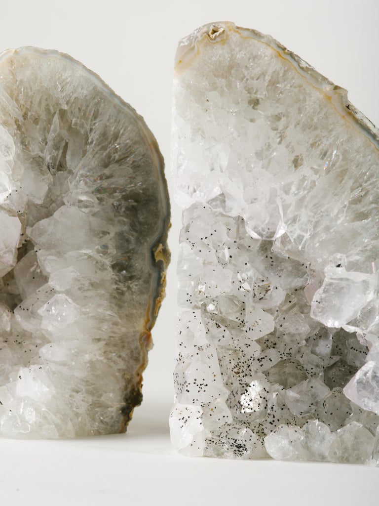 Pair of Large Silver Quartz Crystal Geode Bookends For Sale 1