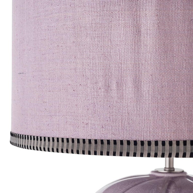 Italian Pair of Large Sinuous-Ribbed Ceramic Table Lamps For Sale