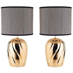 Pair of Large Sinuous-Ribbed Ceramic Table Lamps