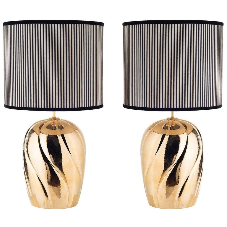 Pair of Large Sinuous-Ribbed Ceramic Table Lamps For Sale