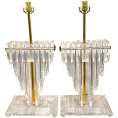 Pair of Large Springer Style 'Cityscape' Lucite and Brass Lamps