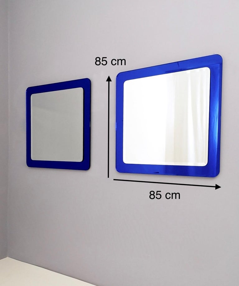 Pair of Large Square Royal Blue Wall Mirrors, Italy, 1970s  For Sale 5