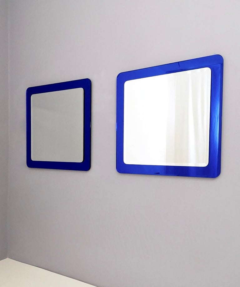 Italian Pair of Large Square Royal Blue Wall Mirrors, Italy, 1970s  For Sale