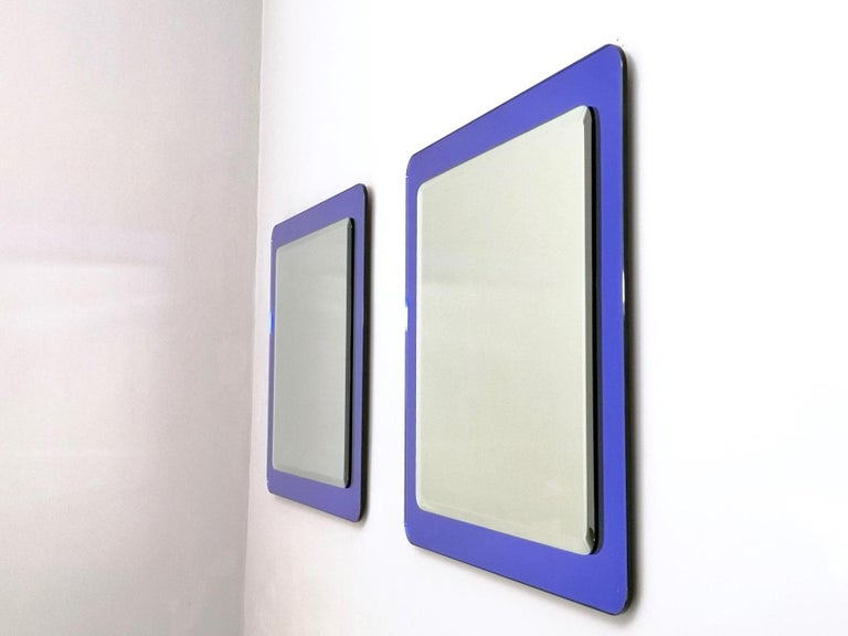Pair of Large Square Royal Blue Wall Mirrors, Italy, 1970s  In Excellent Condition For Sale In Bresso, Lombardy