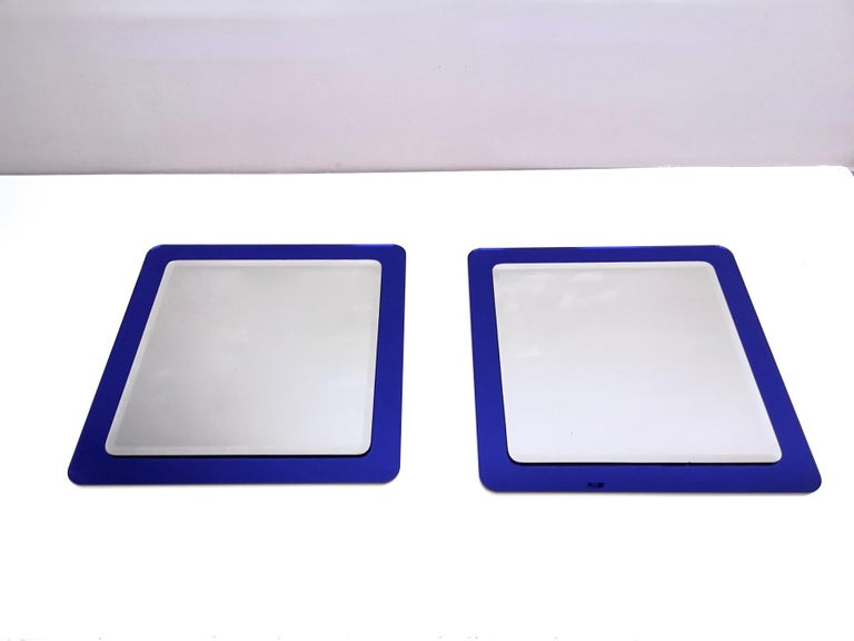 Late 20th Century Pair of Large Square Royal Blue Wall Mirrors, Italy, 1970s  For Sale