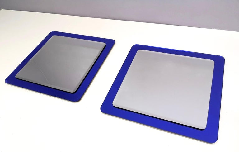 Metal Pair of Large Square Royal Blue Wall Mirrors, Italy, 1970s  For Sale