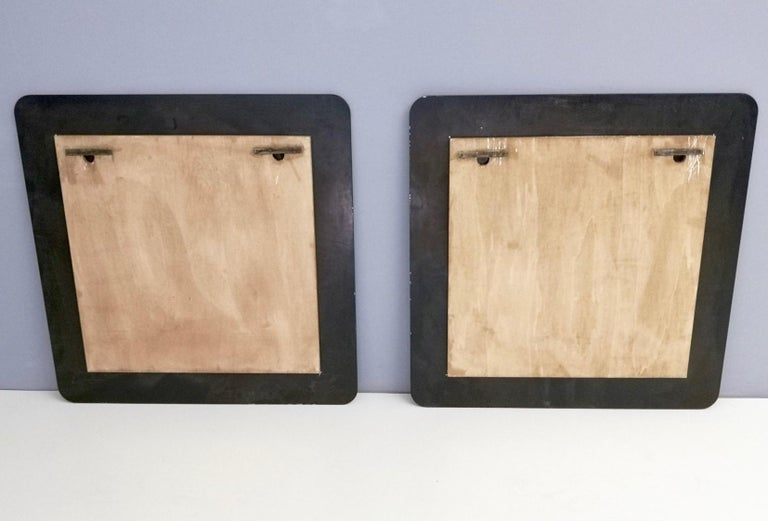 Pair of Large Square Royal Blue Wall Mirrors, Italy, 1970s  For Sale 1