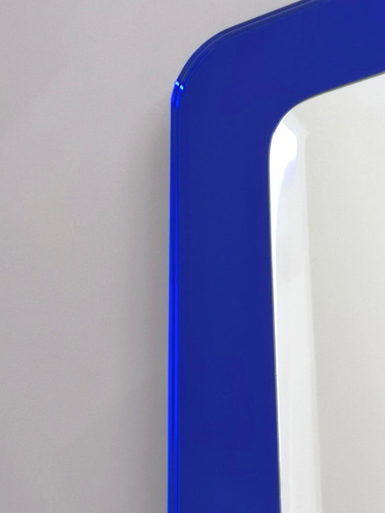 Pair of Large Square Royal Blue Wall Mirrors, Italy, 1970s  For Sale 3