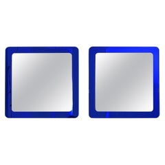 Pair of Large Square Royal Blue Wall Mirrors, Italy, 1970s
